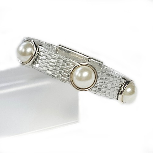 Silver Leather Pearls Bracelet - orangeshine.com