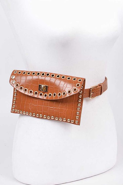 Croc Embossed Leather Studded Fanny  - orangeshine.com
