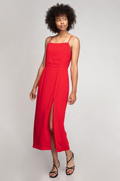 SQUARE NECK HIGH SLIT MIDI DRESS - orangeshine.com