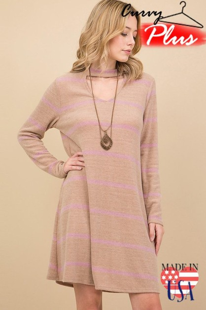 STRIPED CASHMERE CHOKER NECK DRESS - orangeshine.com
