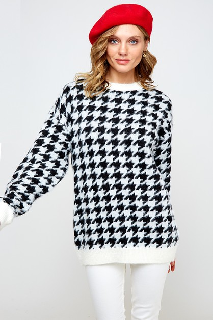 HOUNDSTOOTH PRINT SWEATER TOP - orangeshine.com