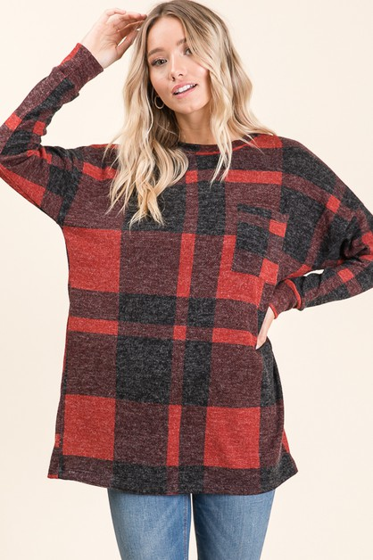 Plaid Long Sleeve Tunic Top - orangeshine.com