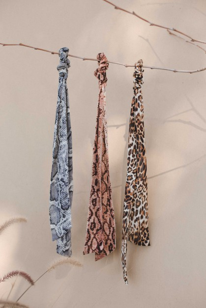 Animal Print Chiffon Scarf Pony - orangeshine.com
