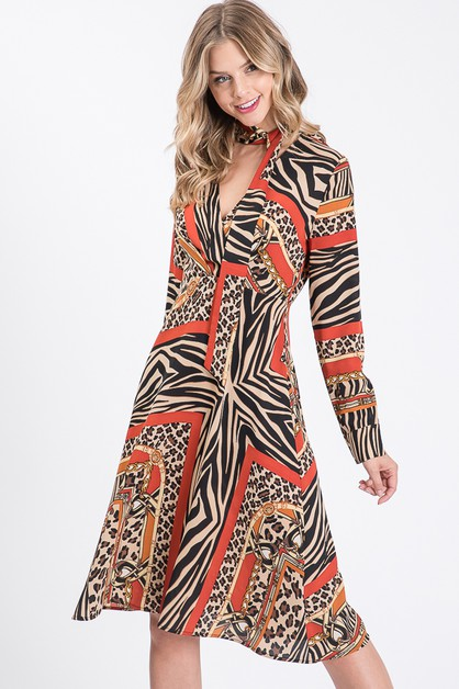 ATTACHED SCARF DRESS - orangeshine.com