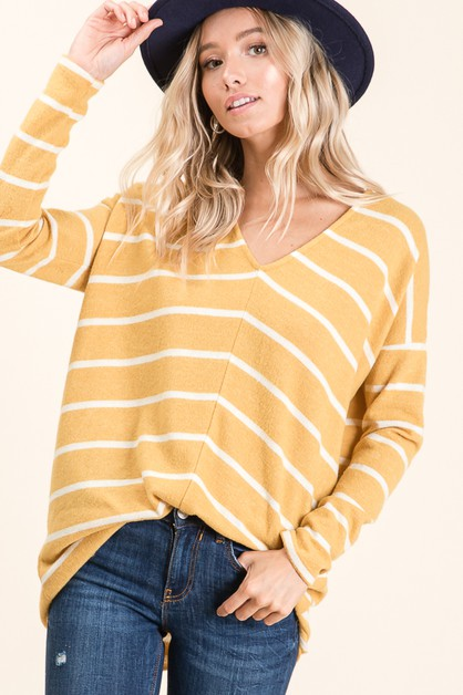 Striped Long Sleeve Top - orangeshine.com