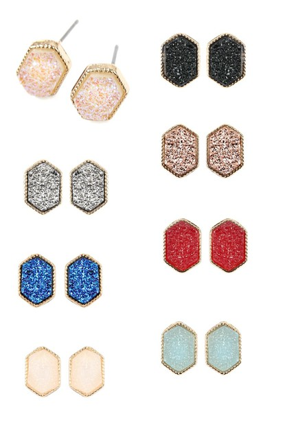 DRUZY HEXAGON POST EARRINGS - orangeshine.com