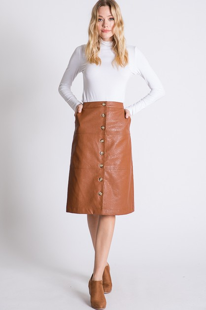 FAUX LEATHER BUTTON DOWN SKIRTS  - orangeshine.com