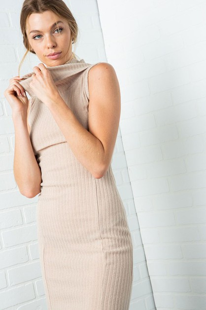 KNIT RIBBED BODYCON TURTLE NECK DRES - orangeshine.com