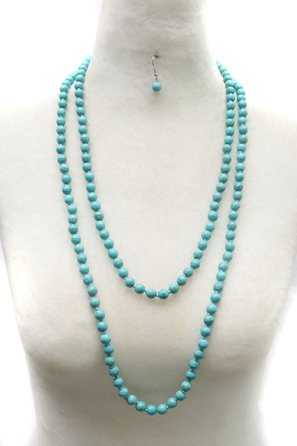 STRAND GLASS BEAD LONG NECKLACE SET - orangeshine.com