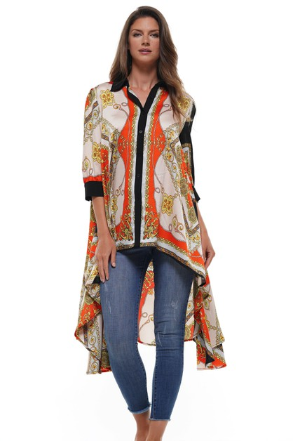 SCARF PRINT BUTTON DOWN SHIRT - orangeshine.com