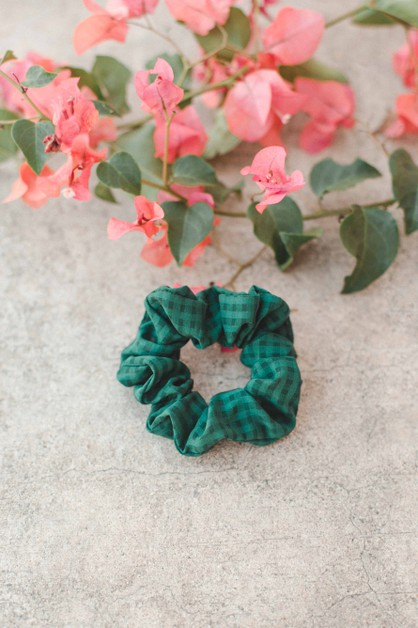 Green Check Scrunchie - orangeshine.com