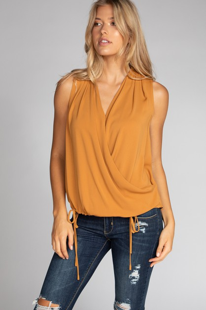 SURPLICE TOP WITH DRAWSTRING WAIST - orangeshine.com