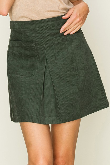 CORDUROY INVERTED PLEAT SKIRT - orangeshine.com