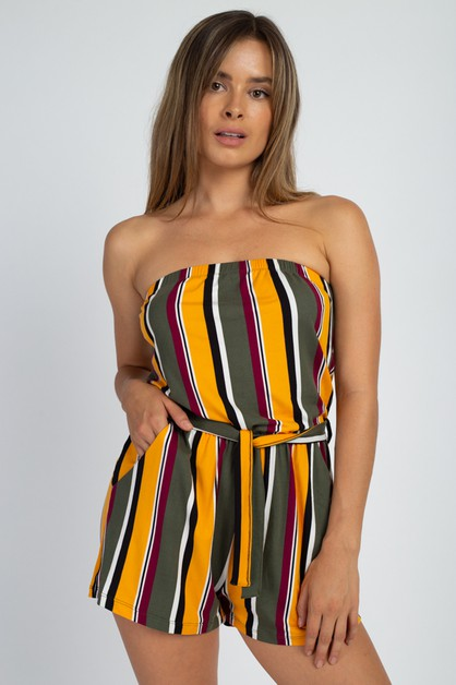 Striped Tube Romper - orangeshine.com