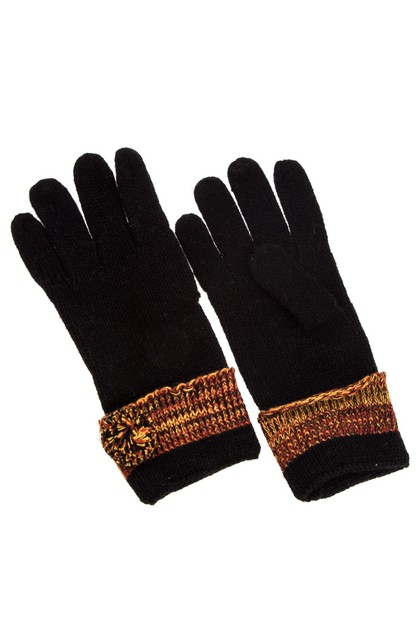 Pom Pom Accent Knit Glove  - orangeshine.com