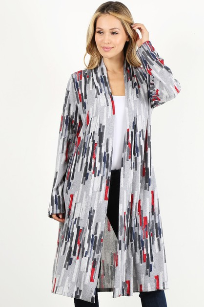 GEOMETRIC OPEN LOOSE FIT CARDIGAN - orangeshine.com