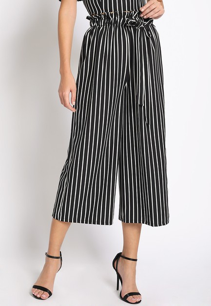 PAPER BAG STRIPE CROPPED PANTS - orangeshine.com