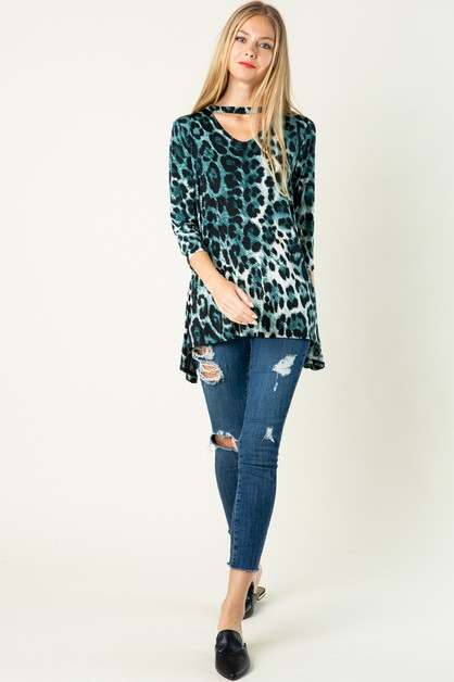 Key Hole Animal Print Top - orangeshine.com