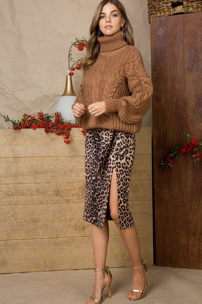Leopard Midi Skirt with Side Zipper  - orangeshine.com