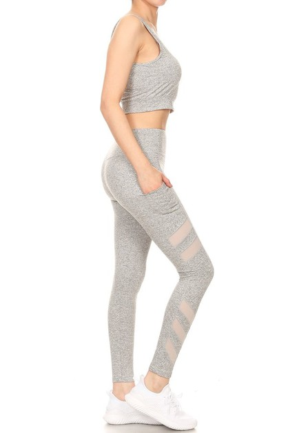 Mesh Active Yoga Set Leggings Tops - orangeshine.com