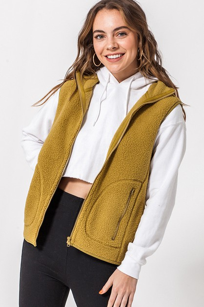 FULL ZIP SHERPA VEST WITH POCKETS - orangeshine.com