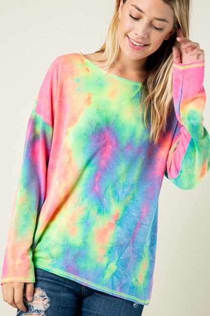 Basic Long Sleeve Tie-Dye Top  - orangeshine.com