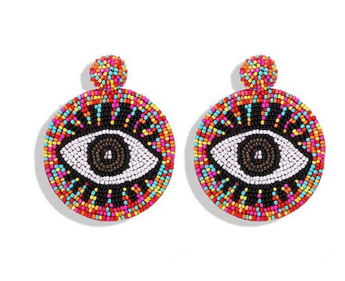Beaded evil eye round earrings - orangeshine.com