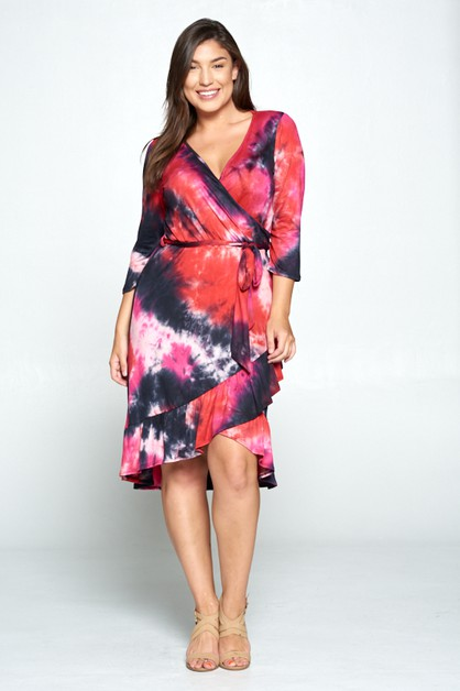 TIE DYE SURPLICE RAFFLE DRESS - orangeshine.com