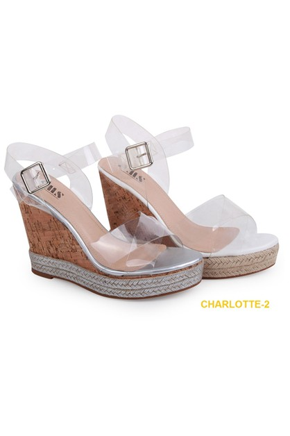 Clear Wedge Ankle Strap Sandals - orangeshine.com