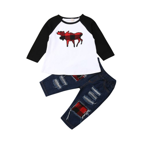 2PC Boys Plaid Distressed denim set - orangeshine.com