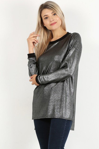 Metallic long sleeve HI LO HEM TOP - orangeshine.com