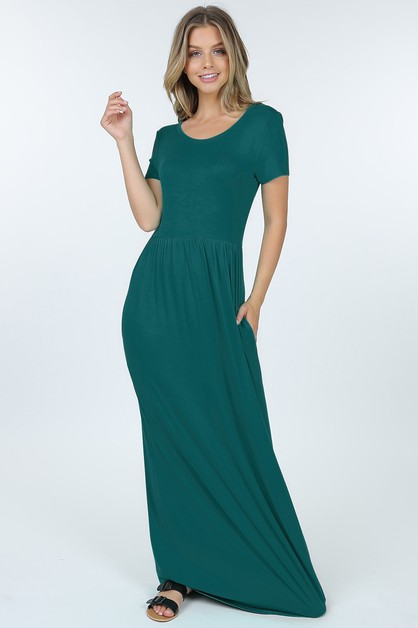 Short Sleeve Round Neck Maxi Dress W - orangeshine.com