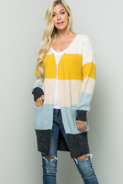 Color Block Long Cardigan - orangeshine.com