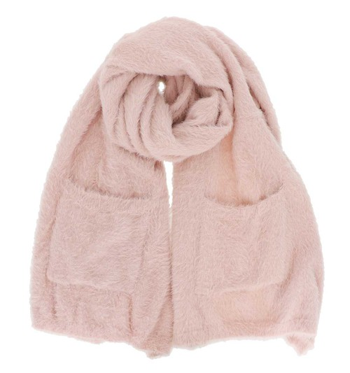 Pink Fuzzy Oblong Scarf with Pockets - orangeshine.com