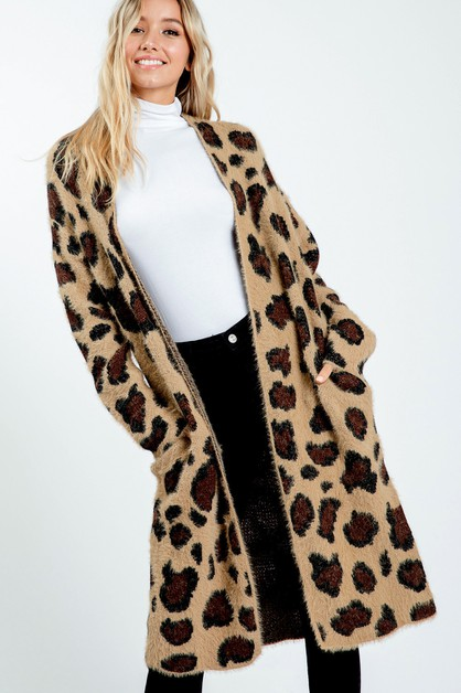 Leopard Print Sweater Long Cardigan - orangeshine.com