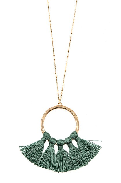 ELONGATED TASSEL PENDANT NECKLACE S - orangeshine.com