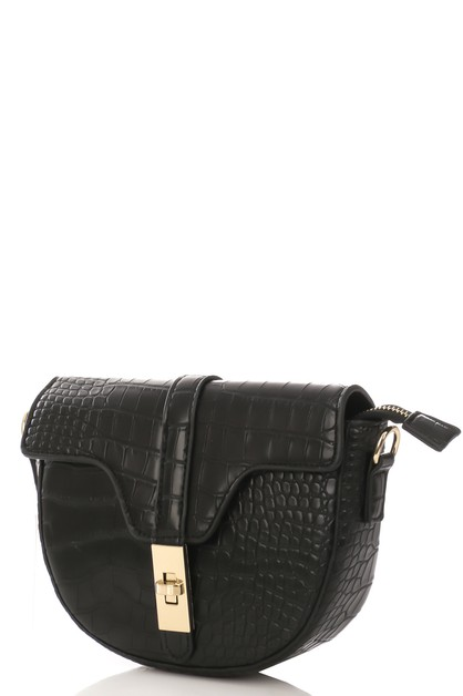 Turn Lock Faux Alligator Side Bag - orangeshine.com