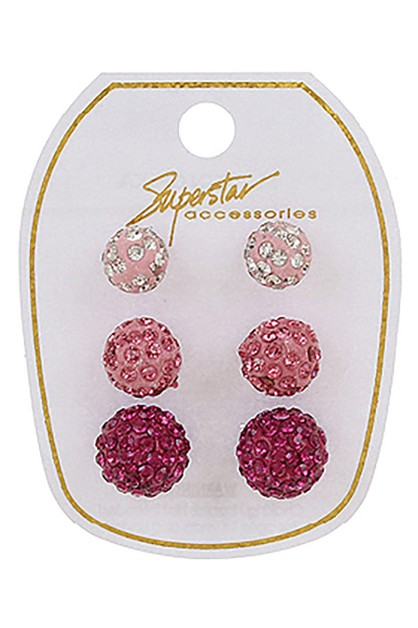 3-Pair Fireball Earring Set - orangeshine.com