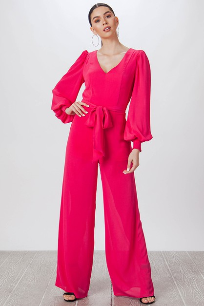 SOLID JUMPSUIT W V-NECK - orangeshine.com