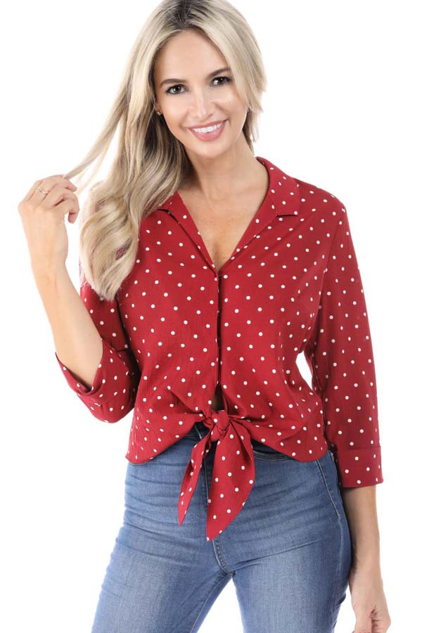Polka-Dot Tie Bottom Shirts - orangeshine.com