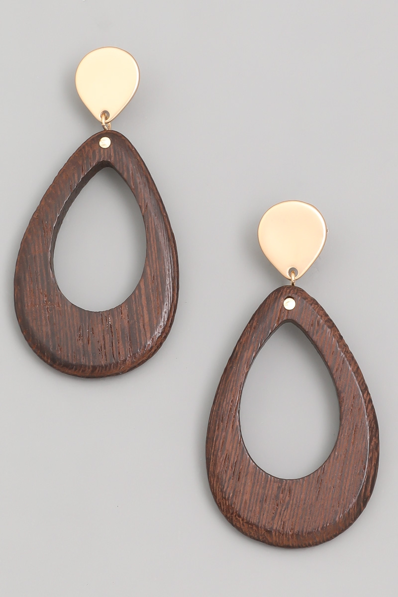 Wooden Teardrop Earrings - orangeshine.com