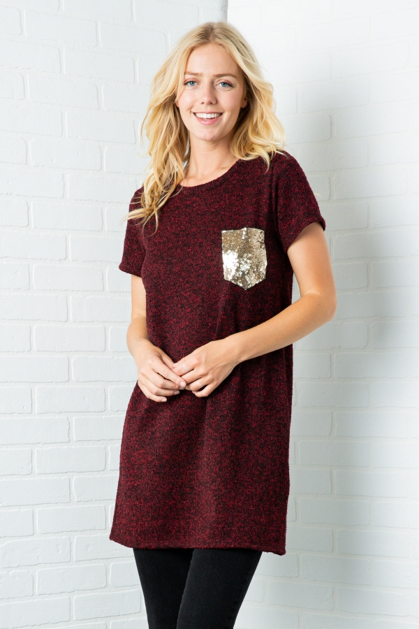 SOLID SHORT SLEEVE DRESS WITH GOLD G - orangeshine.com
