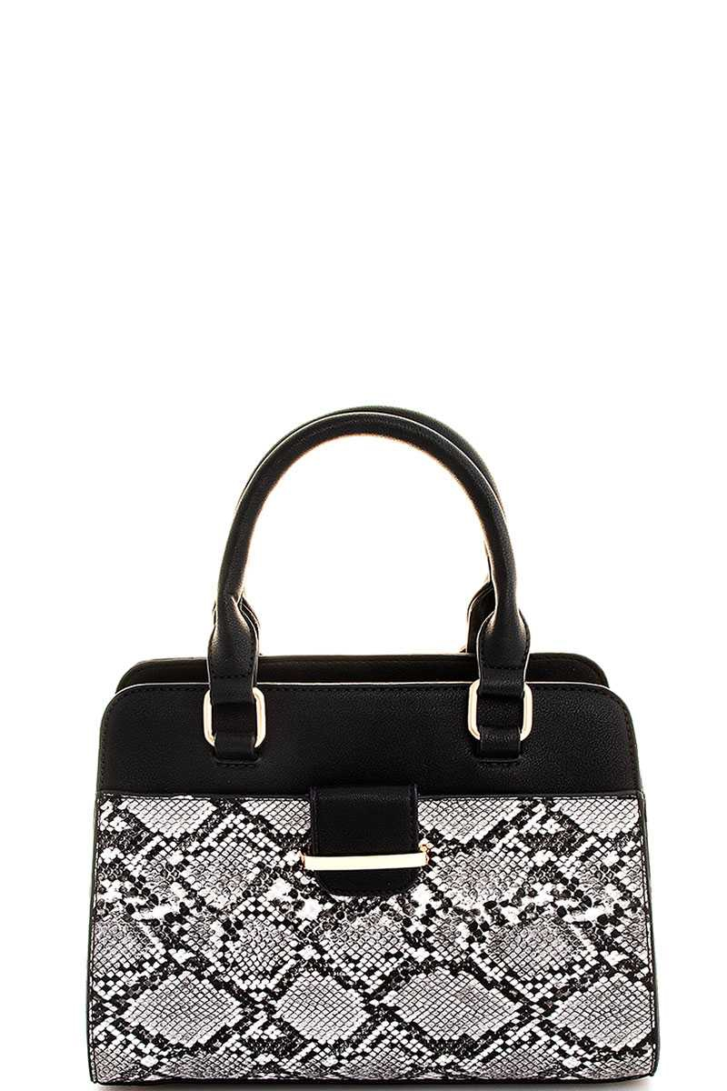 TWO TONE SNAKE PATTERN SATCHEL  - orangeshine.com