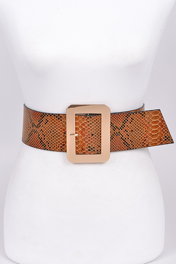 Snakeskin Rectangle Buckle Belt - orangeshine.com