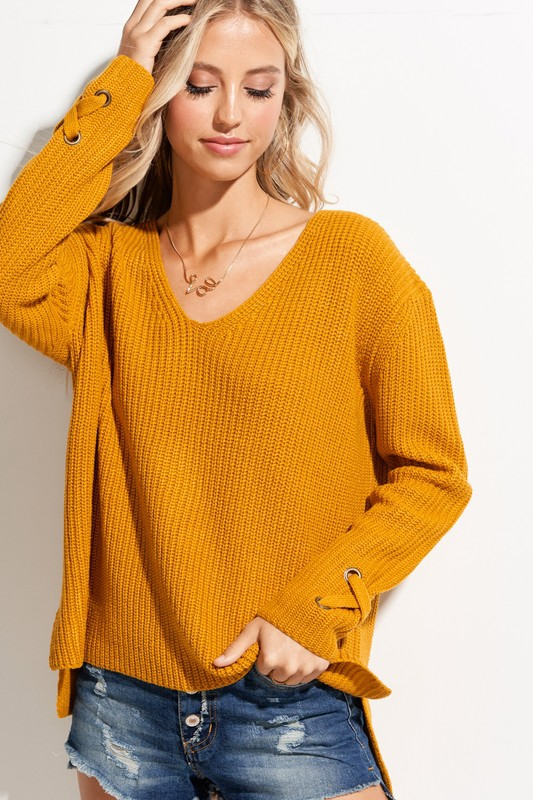 Tie Sleeve Detail V-neck Sweater - orangeshine.com