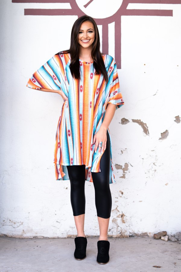 PRINT MID SLEEVE TUNIC TOP - orangeshine.com