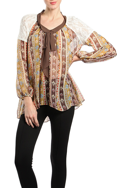 RT5916 FLOWERY TRIBAL PRINTED TOP - orangeshine.com