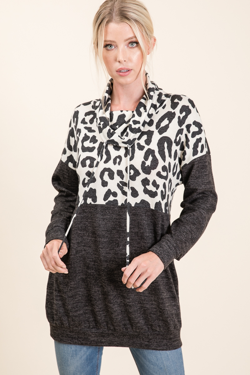 COWL NECK ANIMAL PRINT PULLOVER - orangeshine.com