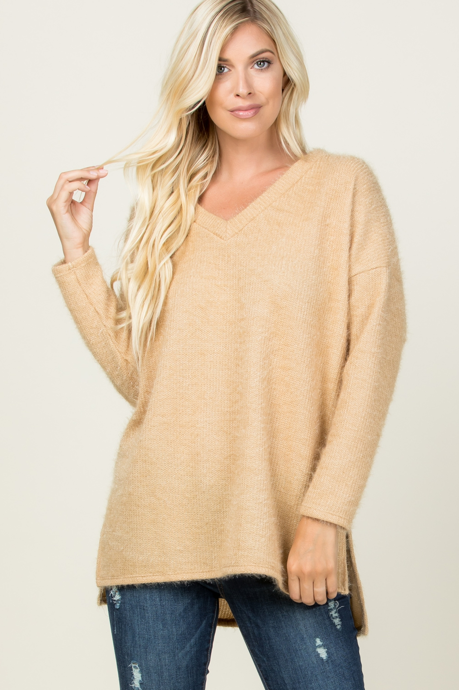 SOLID V NECK LONG SLEEVE SWEATER TOP - orangeshine.com