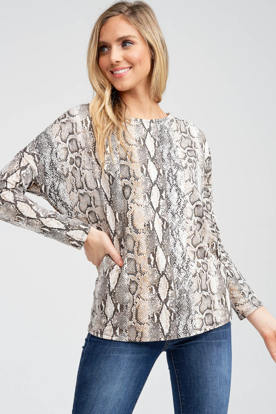 Open Back Twist Snake Print Top - orangeshine.com